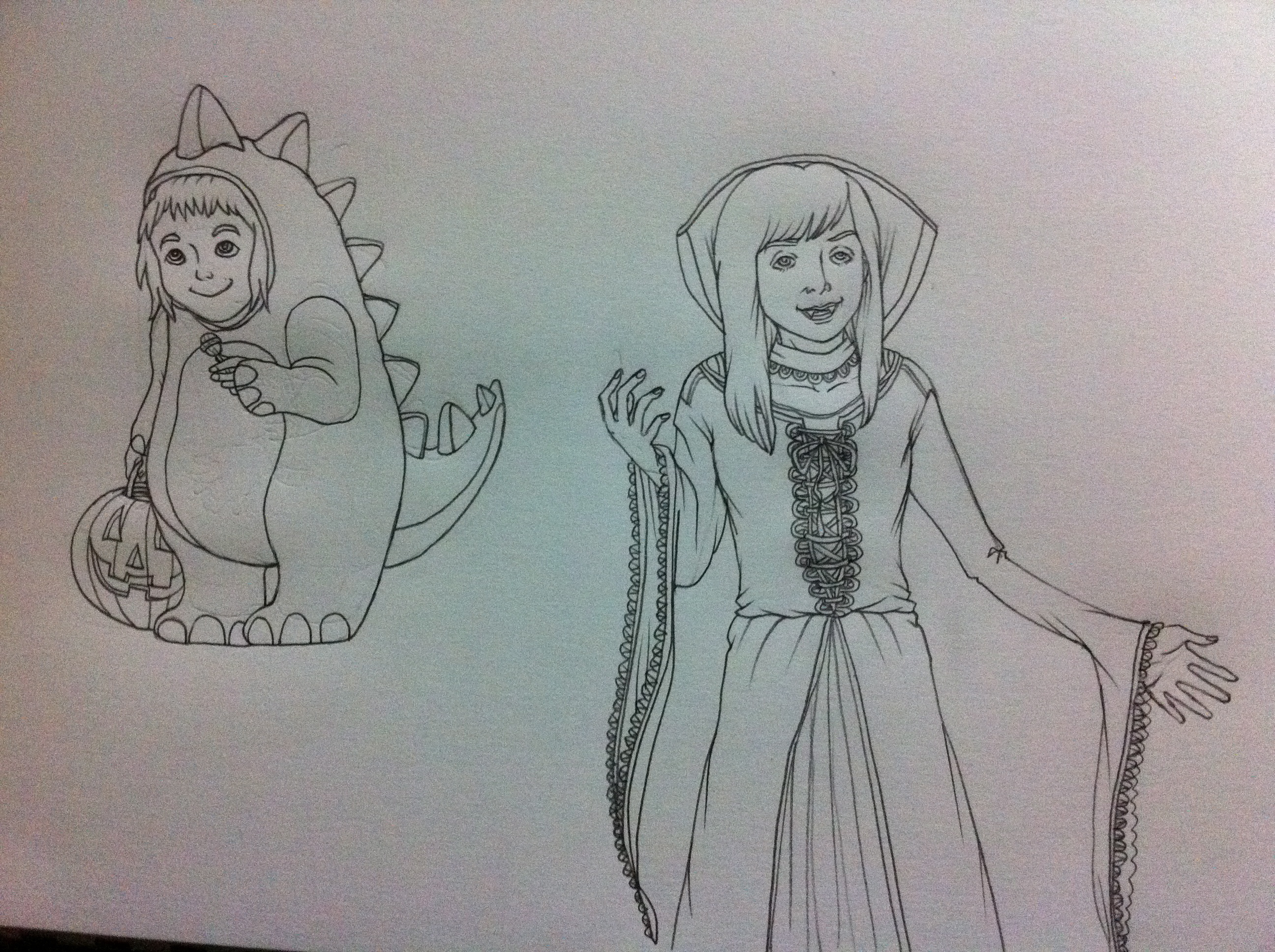 my costumes a stegosaurus at age 5 6 left and vampiress in middle school drawn by melodie miu