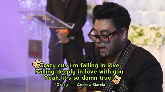 Featured guest star Andrew Garcia (AMERICAN IDOL singer) sings beautifully at the wedding.