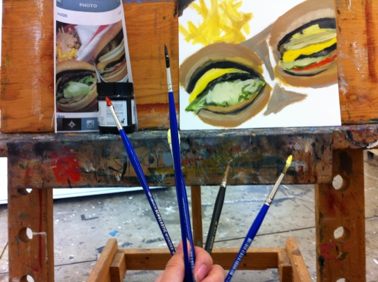 Painting some In-N-Out cheeseburgers and animal-style fries.