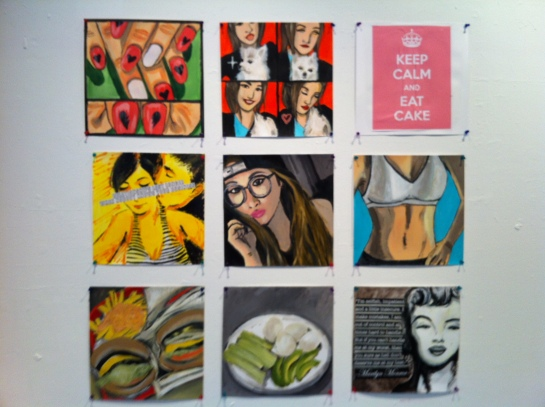 """I didn't realize how blurry the photo was until after I took everything down so hopefully the earlier photo was a clearer demonstration. The last panel was a """"Keep Calm"""" print that I got online and quickly attached onto a canvas square with matte acrylic medium."""