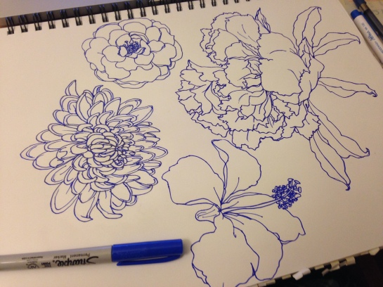 More flowers. Sketched with a pencil and traced with a blue Sharpie pen.
