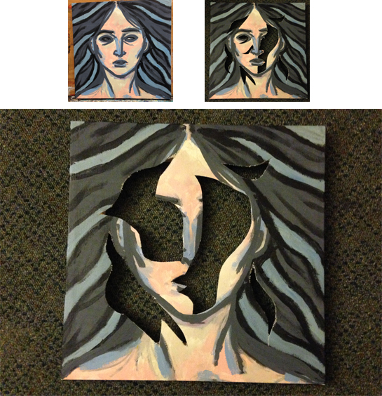 """Carved Face, 2014, acrylic paint, 12"""" x 12""""."""
