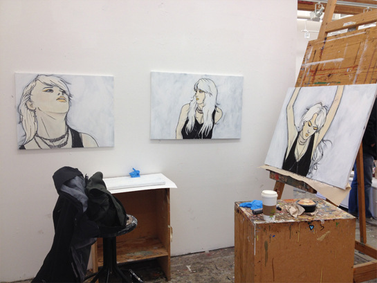 One Girl at the Club (working title), triptych, 2013, acrylic paint.