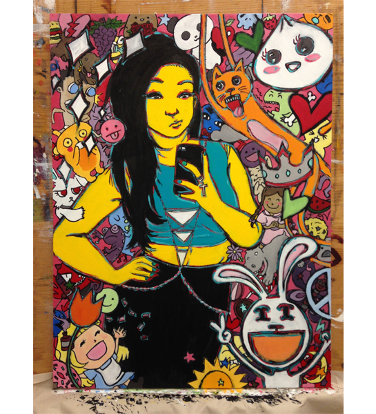"""Social Media Girl (working title), 2014, acrylic paint, 30"""" by 40""""."""