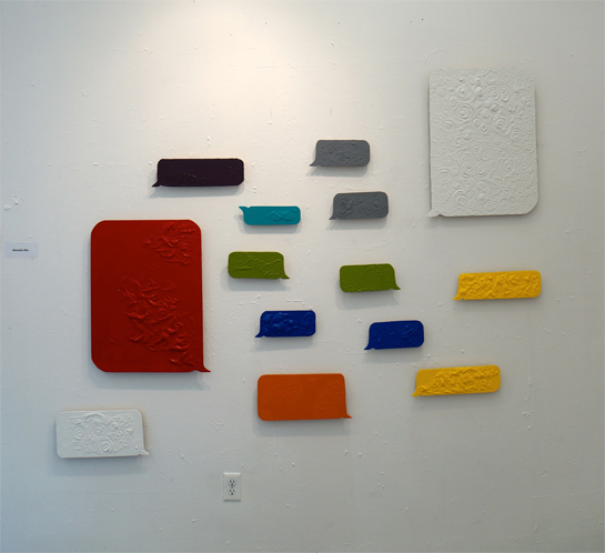 Text Bubbles, 2014, gesso and acrylic paint on wood panels. Thanks to Umit Yalcinalp for the photo!
