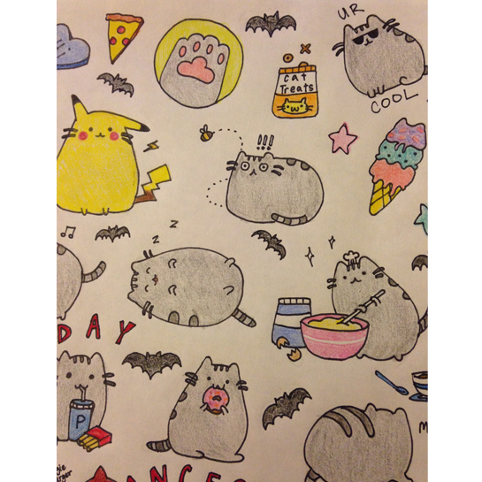 two birthdays pusheen cats and a grandpa  melodie miu, Birthday card