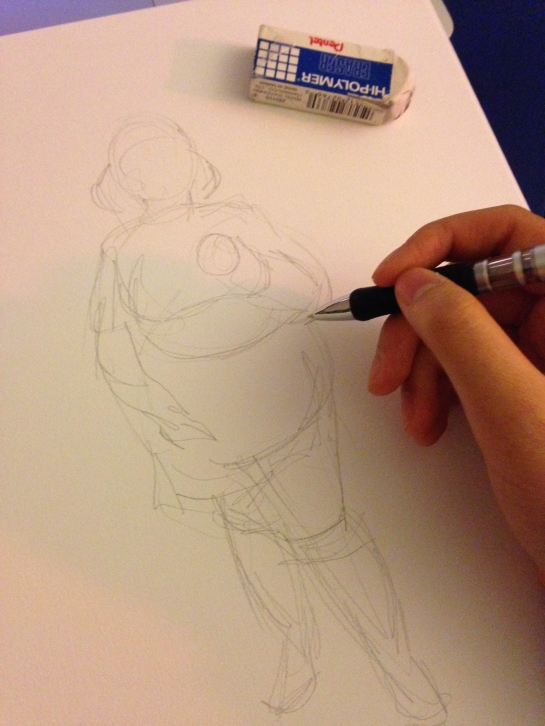 Sketching out the first image.